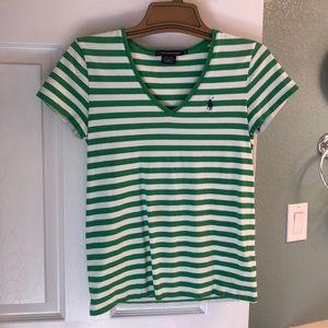 Ralph Lauren Green & White Striped V-Neck T-Shirt